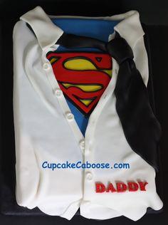 great superhero cake.  Superman, shirt & tie