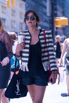 Tweed & black shorts