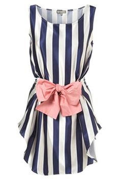 Navy stripes + pink bow.
