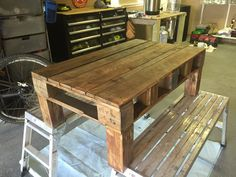 Wood Steel, Wood Projects, Table, Furniture, Home Decor, Wooden Projects, Homemade Home Decor, Mesas, Home Furnishings