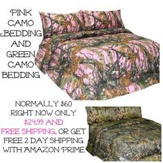 Pink camo bedding...PINK CAMO AND NATURAL CAMO MICROFIBER SHEET SET ONLY $24.99 FREE SHIPPING FOR TWIN, FULL, QUEEN AND KING
