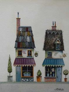 Gary Walton watercolour 'Bay Tree Cottages' - many works, all gorgeous! Storybook Cottage, House Illustration, House Quilts, House Drawing, Naive Art, Fairy Houses, Whimsical Art, Little Houses, Painting Inspiration