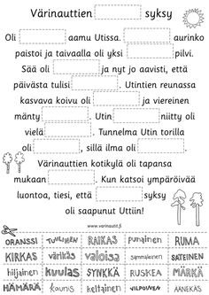 Ilmaista taidekasvatusmateriaalia alakouluun. Sanataide- ja kuvataidetehtäviä. Classroom Behavior, Early Childhood Education, Periodic Table, Sheet Music, Kindergarten, Language, Teaching, School, Pictures