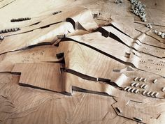 Timber architectural model | designed by Peter Eisenmann for the actual city of culture in Galicia, Spain