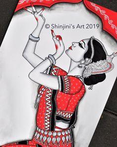 No photo description available. Art Drawings Sketches Simple, Art Drawings Beautiful, Pencil Art Drawings, Dance Paintings, Indian Art Paintings, Madhubani Art, Madhubani Painting, Indian Folk Art, Cherokee Indian Art