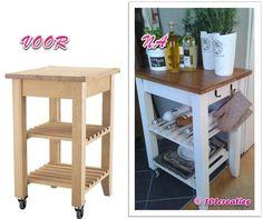 DIY #Ikea #roltafel #pimpen naar landelijk exemplaar. #bijzettafel #keuken #hack #101creaties