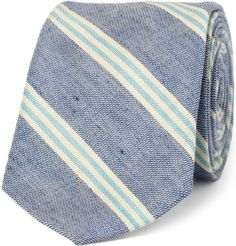 Slim Dean's Stripe Cotton and Linen-Blend Tie