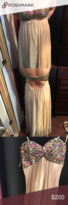 Beaded Strapless Prom Dress Worn once; open back La Femme Dresses Prom