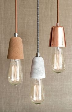 Ando 1 Light Pendant in Copper and Marble. See more Marble inspirations at  http://www.brabbu.com/en/inspiration-and-ideas/category/materials/stone #LivingRoomFurniture #ModernHomeDécor #MarbleDécorIdeas: