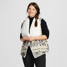 Women's Plus Size Faux Wool Vest with Sherpa Interior