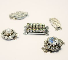 Vintage necklace clasps.  Crystal clasps. by chicvintageboutique
