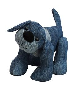 Soft toy dog sewing pattern.  Recycle favourite denims - Sewing Patterns at Makerist
