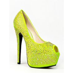 Red Kiss Reva Pump ($45) ❤ liked on Polyvore featuring shoes, pumps, heels, yellow, evening pumps, red heel pumps, peep toe shoes, yellow peep toe pumps and yellow heeled shoes
