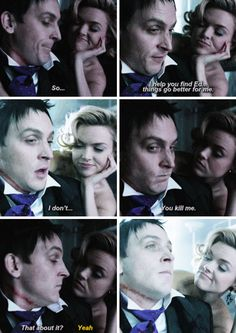 """""""So, I help you fiend Ed... things go better for me. I don't... you kill me. That about it?"""" - Oswald and Barbara #Gotham"""
