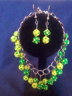 Lemon Lime Bracelet and Earrings set