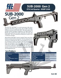 Kel-Tec Sub-2000 Gen 2 9mm or .40 SW Collapsible Rifle