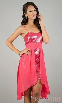 High Low Spaghetti Strap Dress at PromGirl.com