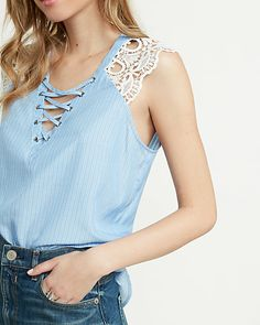 lace sleeve lace-up blouse