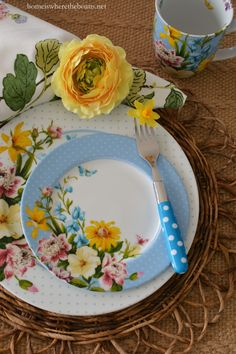 Spring tablescape with Katie Alice English Garden dinnerware | Home is Where the…