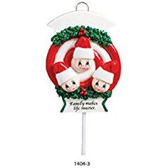 Lollipop Family 3 Personalized Christmas Tree Ornament