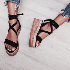 b34992ea249 Platform Lace Up Cork Bottom Sandals 4 Colors - Savage Garb