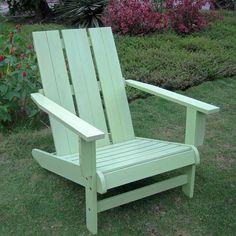 International Caravan Acacia Large Square Back Adirondack Chair in Mint Green