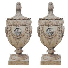 Pair of Classical  Wood Urns