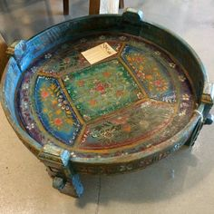 Old Indian Painted Grinding table. Originally used to ground spices