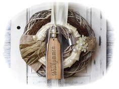 Türkränze - :::::♥:::♥ Türkranz Willkommen ♥:::♥::::: - ein Designerstück von Flora89 bei DaWanda Burlap, Reusable Tote Bags, Wreaths, Etsy, Deco Wreaths, Crown Cake, Circuit, Crafts, Easter Activities