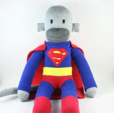 if your man is a big kid: Clark the Superman Sock Monkey - Made to Order by YouMakeMeMe on etsy