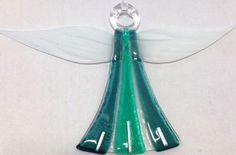 Fused Glass Green Angel by Nicky Exell
