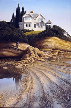 Peter Siddell » nz-artists #NewZealand #architecture @PeterSiddell #NZArt #NZpainting New Zealand Art, Nz Art, Kiwiana, Magic Realism, Hobbies And Crafts, Love Art, Country Roads, Artists, Cityscapes