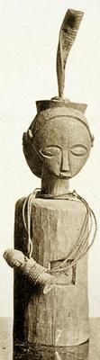 """Fetish-bearing statuette. Marungu. • female (Notable features) • head ornament (Notable features) • ventral cavity (Notable features) • wooden peg (Notable features) • sculpture (Object name, type) • statuette (Object name, type) • Tabwa (Style, culture group)  Storms (1846-1918). """"Notes sur..."""""""