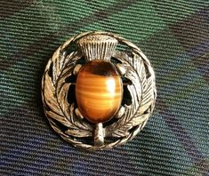 Silvertone Thistle kilt brooch with faux glass agate stone Kilt Pin, Agate Stone, Main Colors, Tartan, Brooches, Glass, Ebay, Agate Gemstone, Brooch