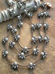 Long boho crochet necklace Starlet boho jewelry by Jewelry Knots, Fabric Jewelry, Boho Jewelry, Beaded Jewelry, Jewelry Necklaces, Diy Earrings, Diy Necklace, Pearl Necklace, Silver Earrings