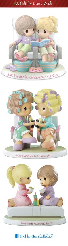 Precious Moments figurines celebrate getting pampered with best friends. Great for gifting girlfriends, daughters, or mothers.