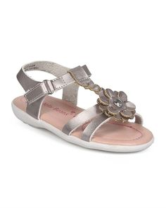 EC25 Metallic Open Toe Braided T-Strap Velcro Sandal (Toddler/ Little Girl) - Silver ** See this great image  : Girls sandals