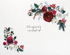 Dernier jour 2 vente 45 % Noël aquarelle florale Clipart