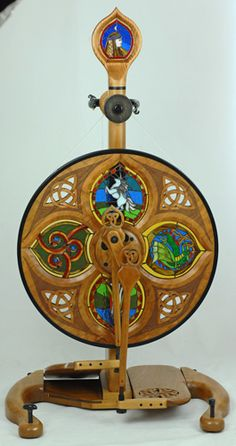 Stained glass spinning wheel.