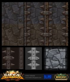 """I would like to share with you the work I did for the new patch of World of Warcraft. I was texture artist for the new raid """"the Siege of Orgrimmar"""" and if I post my work here it's because I used Zbrush to… Texture Drawing, Texture Mapping, 3d Texture, Tiles Texture, Metal Texture, Texture Painting, Warcraft Art, World Of Warcraft, Game Textures"""