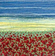 Poppy field fabric landscape stitched beaded art by StitchMikki