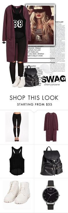 """""""Swag winter outfit"""" by cherrysnoww ❤ liked on Polyvore featuring ONLY, H&M, Go Green M by M, Nly Shoes, Olivia Burton and BCBGeneration"""