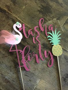Flamingo and Pineapple Cake Topper. First Birthday Cake