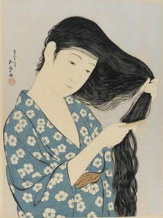 Woman combing her hair  1920    Hashiguchi Goyo , (Japanese, 1880-1921)   Taisho era     Woodblock print; ink and color on paper  H: 46.9 W: 36.9 cm   Japan