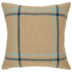 "Khaki Plaid Pillow Cover - 20"" x 20"" by Indigo 