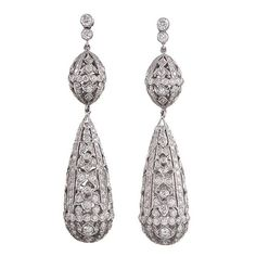 6.17 Carats Diamonds Gold Filigree Drop Earrings | From a unique collection of…