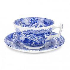 Spode Blue Italian Teacups & Saucers Set of 4 - Blue Italian -Spode UK