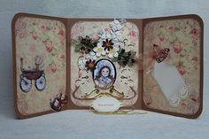 """Hobby creazioni Violetta """"Biglietti d'auguri fatte a mano e altro..."""": Un sfondo di rose e una carrozzina..... due picco..."""