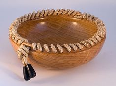 Roped Bowl [Putting the asymmetric touch onto a turning, plus I like ropework, being a former sailor] #Woodturning