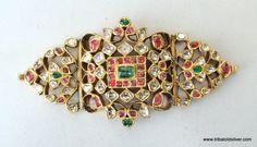 VINTAGE ANTIQUE 20K GOLD GEMSTONE ARMLET BRACELET SOUTH INDIA BB ECL